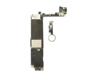 iPhone 7 logic board and white touch id button with rose colored ring